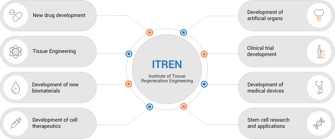 ITREN Institute of Tissue Regeneration Engineering - New drug development, Tissue Engineering, Development of new Biomaterials, Development of cell therapeutics, Development of artificial organs, Clinical trial development, development of medical devices, Stem cell research and applications